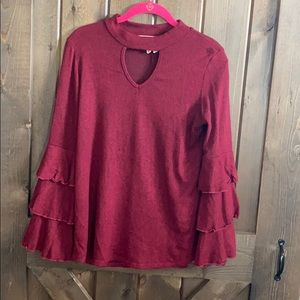 Boutique blouse with flare sleeves